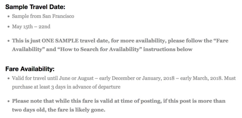 Info on the Particular Flight Deal